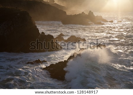 Waves from the Pacific bathe the coastline near Salt Point State Park in northern California.  This area can be viewed by driving Highway 1 along the California coast. - stock photo