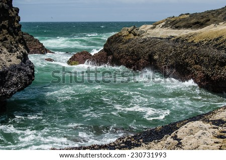 Waves hitting a rocky shore of the Pacific ocean - stock photo