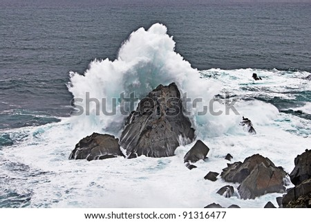 Waves in the Atlantic Ocean on a stormy day - stock photo