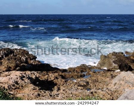 waves in the Tyrrhenian Sea - stock photo