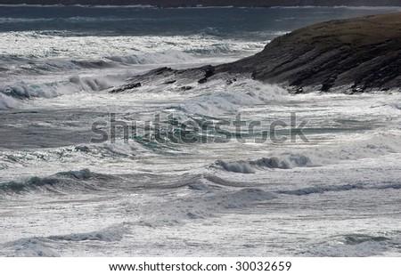 "Waves near a cape near Victor Harbor, ""south Australia"", Australia - stock photo"