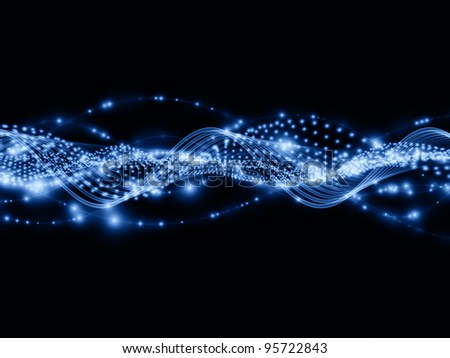 Waves of lights background suitable as a backdrop for projects on technology, entertainment, communications, sound and audio - stock photo