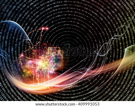 Waves of Technology series. Abstract composition of lights, fractal and technological elements suitable as design element in projects on science, philosophy, metaphysics and modern technology - stock photo