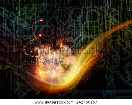 Waves of Technology series. Composition of lights, fractal and technological elements on the subject of science, philosophy, metaphysics and modern technology - stock photo