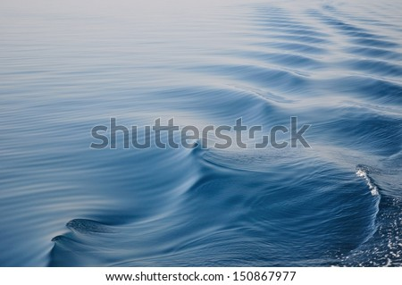 Waves on adriatic sea behind the ship - stock photo