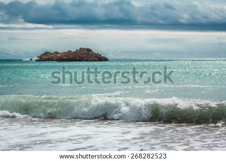 Waves on the coast of the Adriatic Sea - stock photo