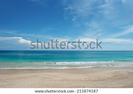 waves sea and blue sky                                     - stock photo