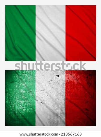 Waving and grunge flags of Italy - stock photo