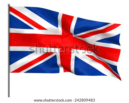 Waving British flag isolated over white background - stock photo