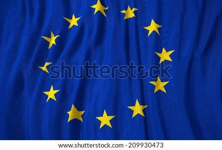 Waving close up european union Flag - stock photo