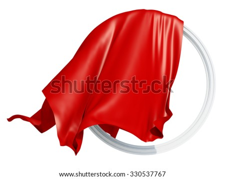 Waving cloth. round frame with a red drapery silk, waving in the wind, on a white background. - stock photo