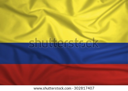 Waving Colombia Flag - stock photo