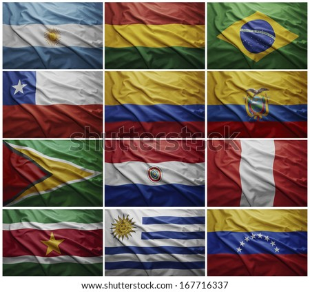 Waving colorful flags of all the South American countries - stock photo