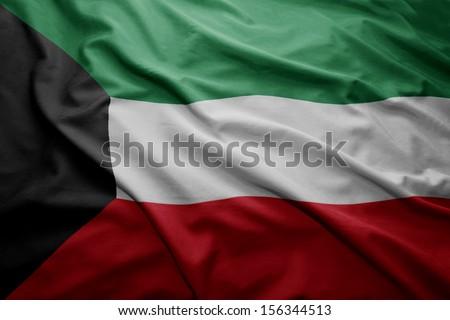 Waving colorful Kuwait flag - stock photo