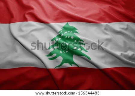 Waving colorful Lebanese flag - stock photo