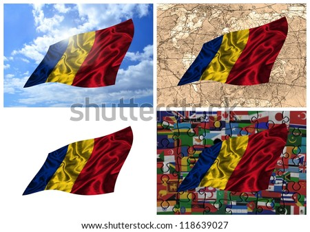 Waving colorful Romania flag collage on different backgrounds - stock photo
