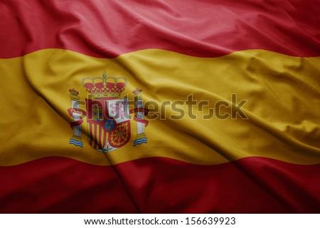 Waving colorful Spanish flag - stock photo