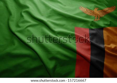 Waving colorful Zambian flag - stock photo