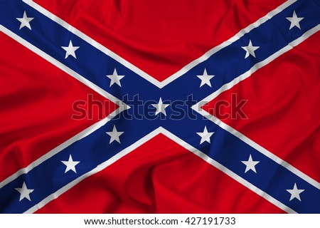 Waving Confederate Flag - stock photo