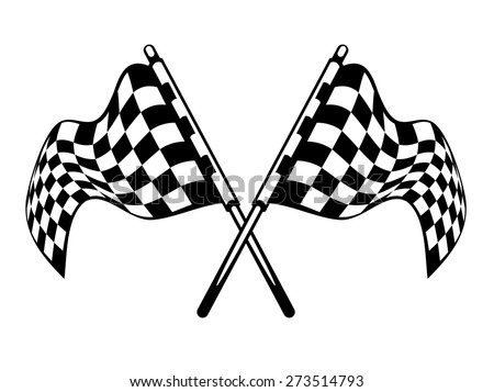 Waving crossed black and white checkered flags used in motor sport isolated on white for heraldry design - stock photo