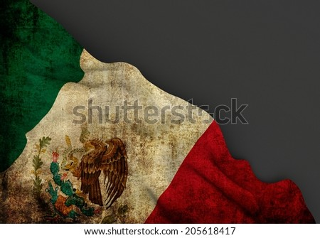 Waving dirty flag of mexico with grunge texture, corner of gray background - stock photo