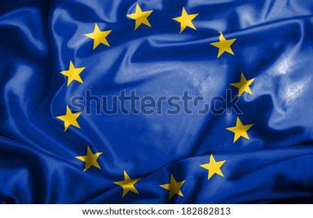 Waving European Union flag - stock photo