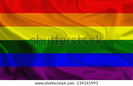 Waving fabric flag of Same - sex marriages, Rainbow gay Flag - stock photo
