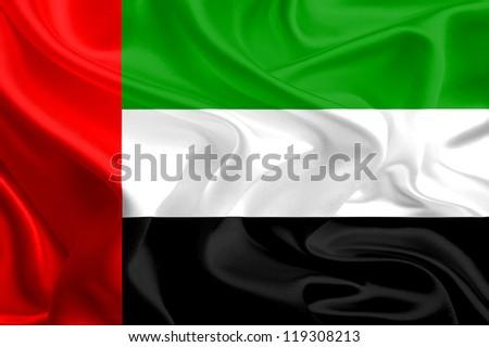 Waving Fabric Flag of United Arab Emirates - stock photo