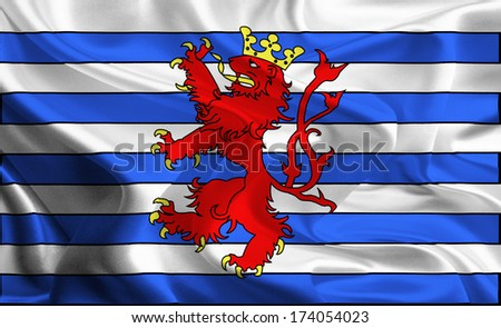Waving Fabric Flags of Provinces of Belgium: Luxembourg - stock photo