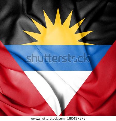 Waving Flag of Antigua and Barbuda - stock photo