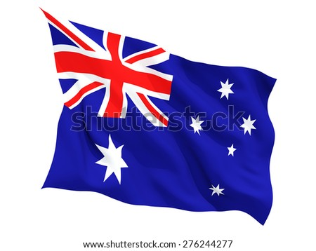 Waving flag of australia isolated on white - stock photo
