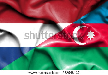 Waving flag of Azerbaijan and Netherlands - stock photo
