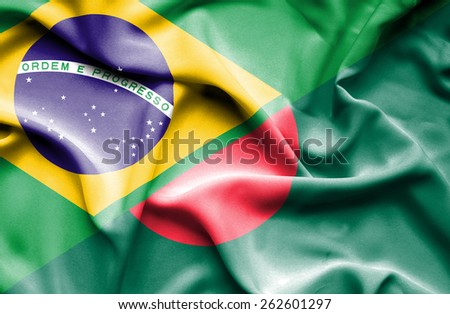 Waving flag of Bangladesh and Brazil - stock photo