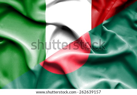 Waving flag of Bangladesh and Italy - stock photo