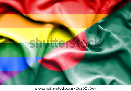 Waving flag of Bangladesh and LGBT - stock photo