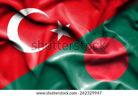 Waving flag of Bangladesh and Turkey - stock photo