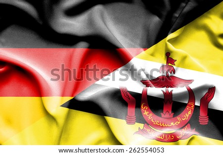 Waving flag of Brunei and Germany - stock photo