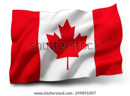 Waving flag of Canada isolated on white background - stock photo