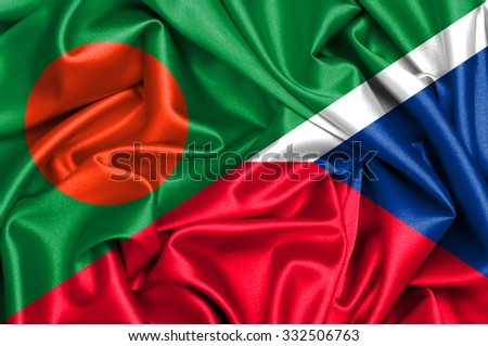 Waving flag of Czech Republic and Bangladesh - stock photo