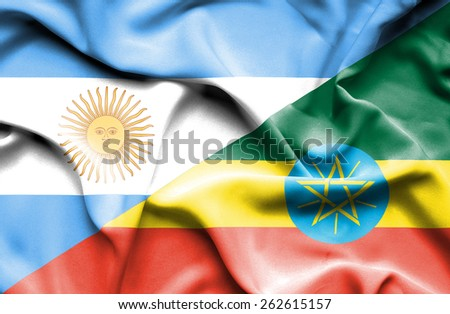 Waving flag of Ethiopia and Argentina - stock photo
