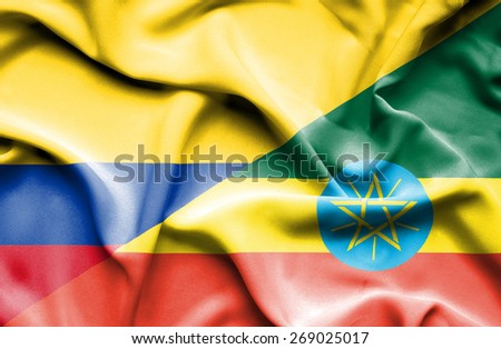 Waving flag of Ethiopia and Columbia - stock photo