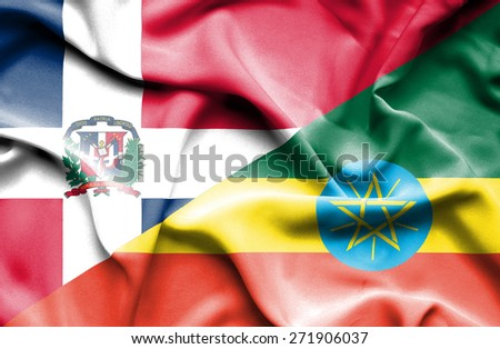 Waving flag of Ethiopia and Dominican Republc - stock photo