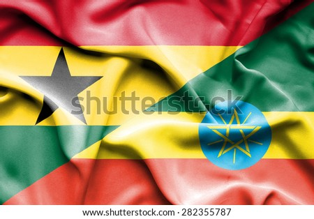 Waving flag of Ethiopia and Ghana - stock photo