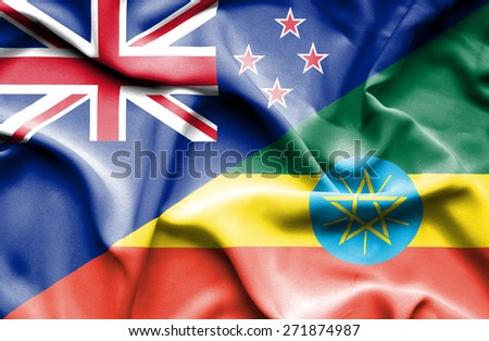 Waving flag of Ethiopia and New Zealand - stock photo