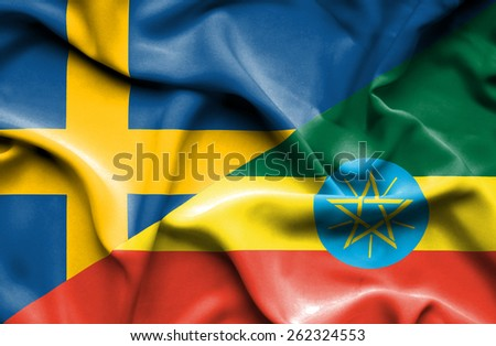 Waving flag of Ethiopia and Sweden - stock photo