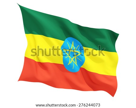 Waving flag of ethiopia isolated on white - stock photo