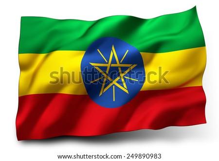 Waving flag of Ethiopia isolated on white background - stock photo