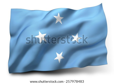 Waving flag of Federated States of Micronesia isolated on white background - stock photo