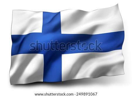 Waving flag of Finland isolated on white background - stock photo