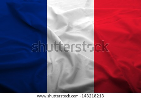 Waving flag of France. Flag has real fabric texture.  - stock photo